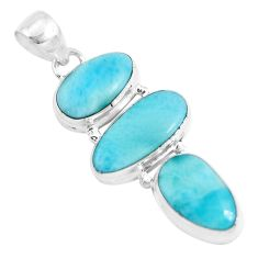 17.95cts natural blue larimar 925 sterling silver pendant jewelry p47663