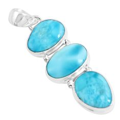 16.85cts natural blue larimar 925 sterling silver pendant jewelry p47665