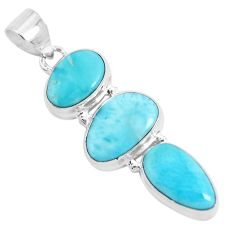 17.93cts natural blue larimar 925 sterling silver pendant jewelry p47666