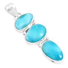 16.54cts natural blue larimar 925 sterling silver pendant jewelry p47667