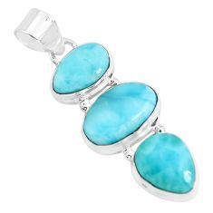 16.54cts natural blue larimar 925 sterling silver pendant jewelry p47669