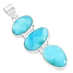20.86cts natural blue larimar 925 sterling silver pendant jewelry p47672