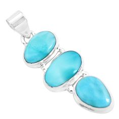 14.26cts natural blue larimar 925 sterling silver pendant jewelry p47677