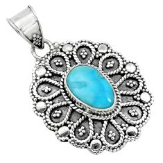 4.03cts natural blue larimar 925 sterling silver pendant jewelry p66625