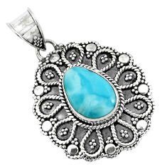 4.40cts natural blue larimar 925 sterling silver pendant jewelry p66629