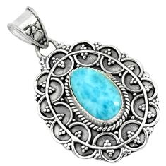 4.52cts natural blue larimar 925 sterling silver pendant jewelry p66631