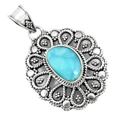 4.52cts natural blue larimar 925 sterling silver pendant jewelry p66632