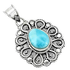 4.40cts natural blue larimar 925 sterling silver pendant jewelry p66633