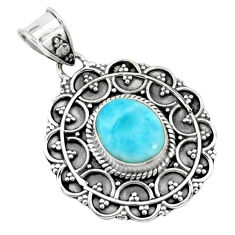 4.40cts natural blue larimar 925 sterling silver pendant jewelry p66642