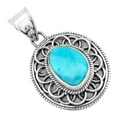 4.40cts natural blue larimar 925 sterling silver pendant jewelry p66643
