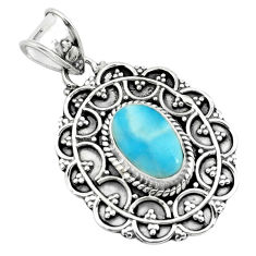 4.22cts natural blue larimar 925 sterling silver pendant jewelry p66646