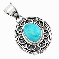 4.52cts natural blue larimar 925 sterling silver pendant jewelry p66648