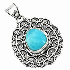 5.31cts natural blue larimar 925 sterling silver pendant jewelry p66652