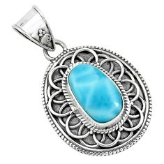 4.40cts natural blue larimar 925 sterling silver pendant jewelry p66657