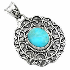 4.21cts natural blue larimar 925 sterling silver pendant jewelry p66660