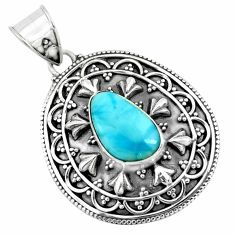 4.38cts natural blue larimar 925 sterling silver pendant jewelry p66662