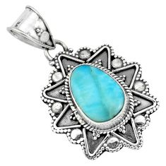 4.92cts natural blue larimar 925 sterling silver pendant jewelry p66663