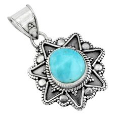 4.06cts natural blue larimar 925 sterling silver pendant jewelry p66669