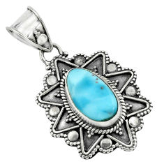 4.70cts natural blue larimar 925 sterling silver pendant jewelry p66672