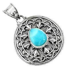 4.55cts natural blue larimar 925 sterling silver pendant jewelry p66675