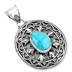 4.21cts natural blue larimar 925 sterling silver pendant jewelry p66677