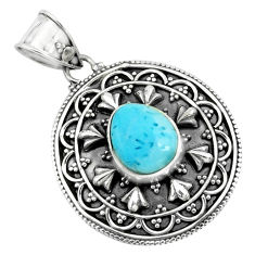 4.55cts natural blue larimar 925 sterling silver pendant jewelry p66678