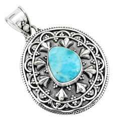 4.55cts natural blue larimar 925 sterling silver pendant jewelry p66680