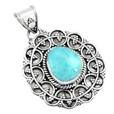 5.07cts natural blue larimar 925 sterling silver pendant jewelry p71238