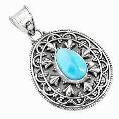 4.38cts natural blue larimar 925 sterling silver pendant jewelry p71242