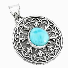 4.54cts natural blue larimar 925 sterling silver pendant jewelry p71243