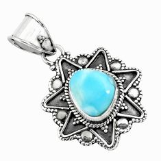4.30cts natural blue larimar 925 sterling silver pendant jewelry p71251