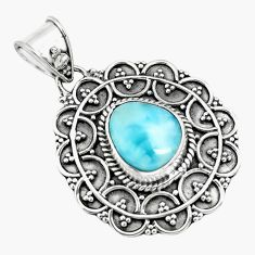 4.92cts natural blue larimar 925 sterling silver pendant jewelry p71253
