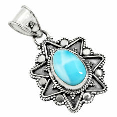 4.03cts natural blue larimar 925 sterling silver pendant jewelry p71260