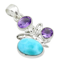 7.67cts natural blue larimar amethyst 925 sterling silver pendant jewelry p66775