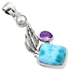 7.98cts natural blue larimar amethyst 925 sterling silver pendant jewelry p88988