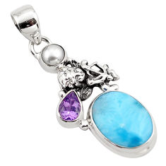 7.63cts natural blue larimar amethyst 925 sterling silver pendant jewelry p88989