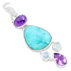 13.77cts natural blue larimar amethyst 925 sterling silver pendant p72047