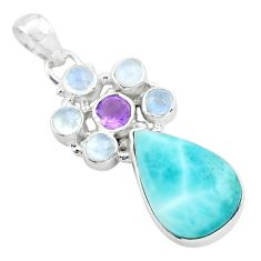 14.72cts natural blue larimar amethyst 925 sterling silver pendant p72070