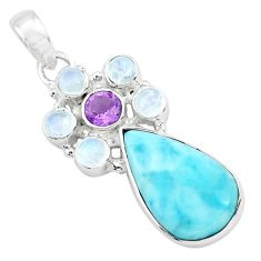 14.72cts natural blue larimar amethyst 925 sterling silver pendant p72076