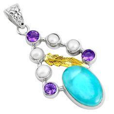Clearance Sale- 15.31cts natural blue larimar amethyst pearl 925 silver 14k gold pendant d31103