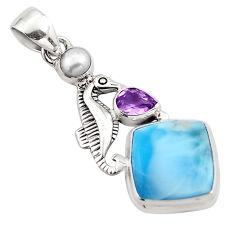 8.71cts natural blue larimar amethyst pearl 925 silver seahorse pendant p88984