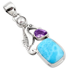 8.14cts natural blue larimar amethyst pearl 925 silver seahorse pendant p88991