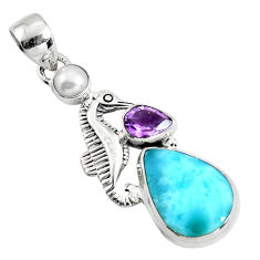 9.63cts natural blue larimar amethyst pearl 925 silver seahorse pendant p90322