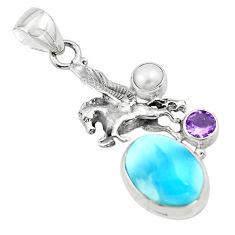 8.03cts natural blue larimar amethyst pearl 925 silver unicorn pendant p80438