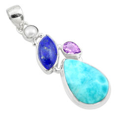 20.07cts natural blue larimar amethyst pearl 925 sterling silver pendant p80372