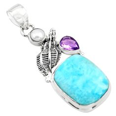 18.47cts natural blue larimar amethyst pearl 925 sterling silver pendant p80385