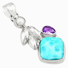 10.37cts natural blue larimar amethyst pearl 925 sterling silver pendant p80429