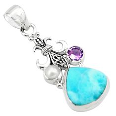 9.63cts natural blue larimar amethyst pearl 925 sterling silver pendant p80437