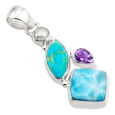 15.55cts natural blue larimar amethyst pearl 925 sterling silver pendant p88969