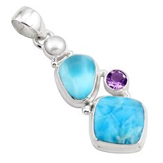 17.42cts natural blue larimar amethyst pearl 925 sterling silver pendant p88975